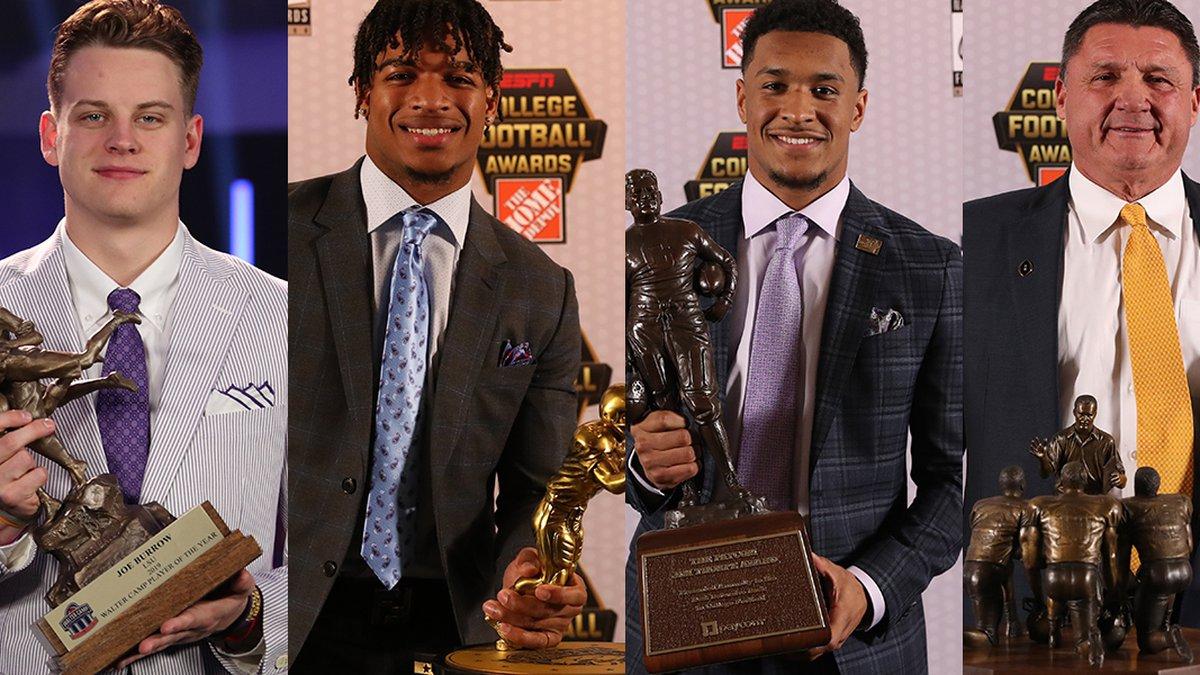 LSU quarterback Joe Burrow, wide receiver Ja'Marr Chase, safety Grant Delpit, and head coach Ed...