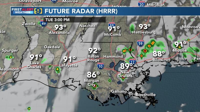 Future radar for Tuesday, August 10.