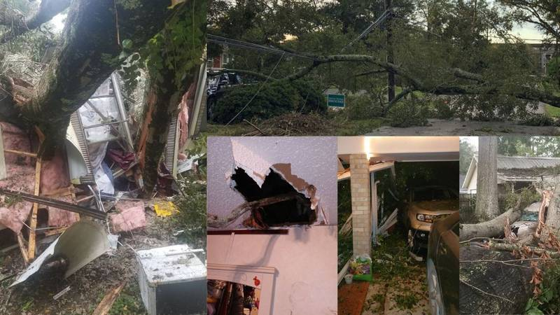 Various images of damage caused by Hurricane Delta sent by viewers.