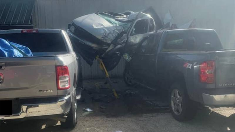 A vehicle went airborne and landed on an unoccupied truck on LA 16 in Livingston Parish on...
