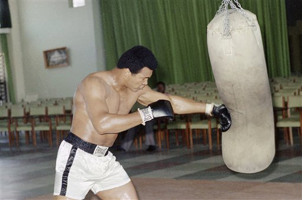 Heavyweight champ training at N?Sele Gym in Zaire on Oct. 23, 1974 for the October 29 fight...