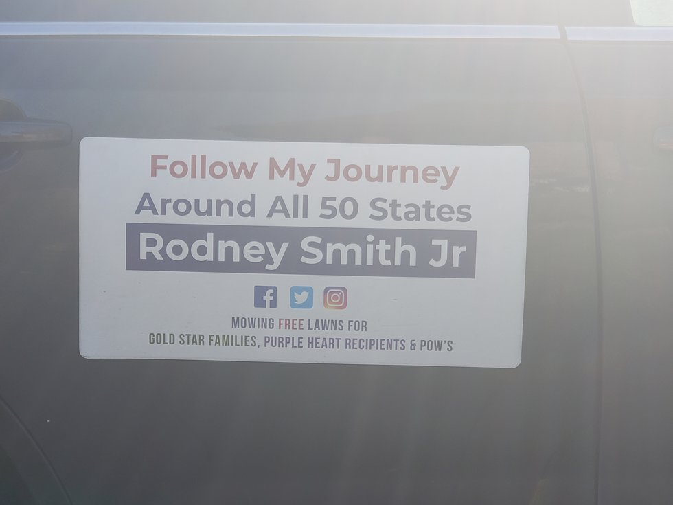 Smith is traveling all over the country to mow lawns for those in need.