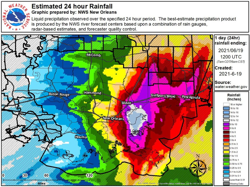 Areas east of New Orleans to Slidell recorded 10-12 inches of rain.
