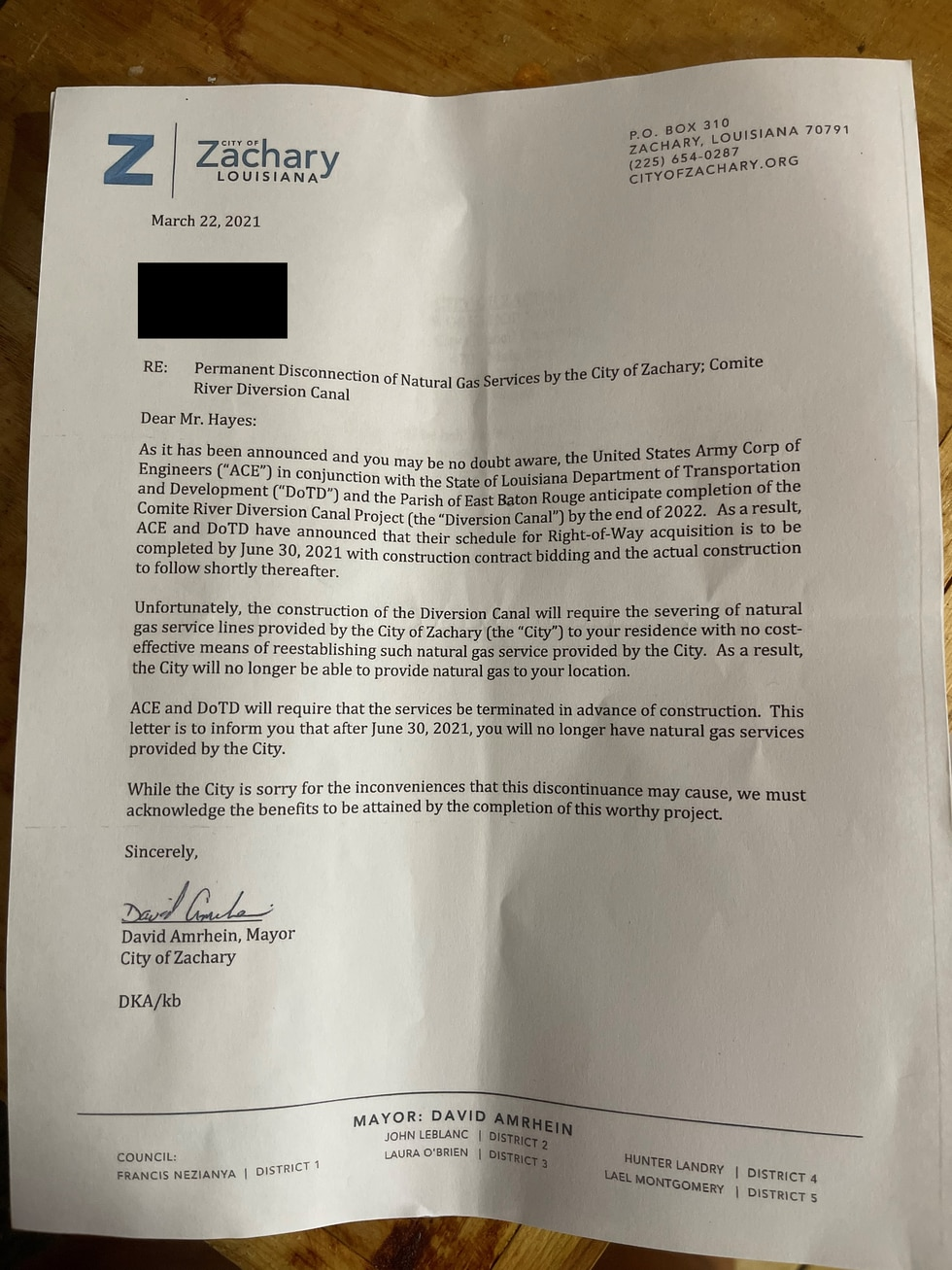 Folks received a letter from Zachary officials that states because of construction on the...
