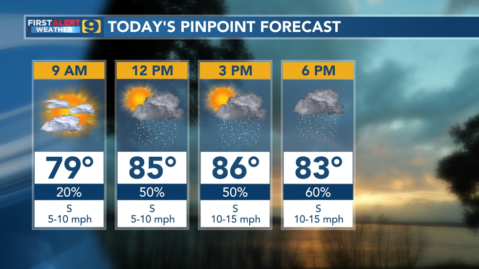 Pinpoint forecast for Monday, June 21.