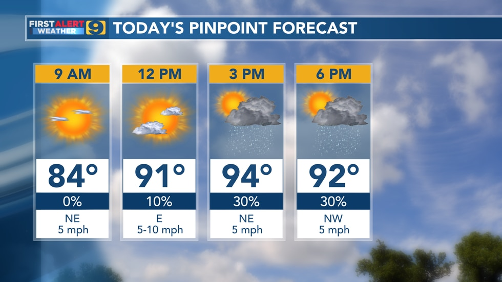 Pinpoint forecast for Monday, June 14.