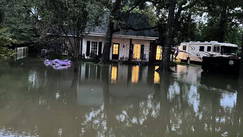 Floodwaters surround surround home in the Kenilworth neighborhood