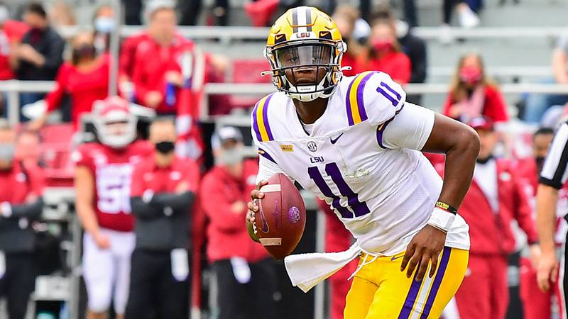 Quarterback TJ Finley (11) of the LSU Tigers during the first half of a game against the...