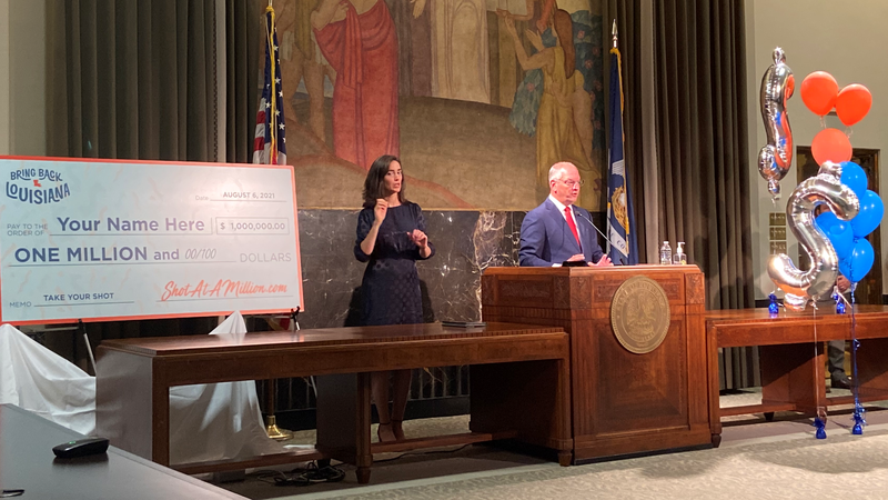 Gov. John Bel Edwards announces cash and scholarships, with a grand prize of $1 million as part...