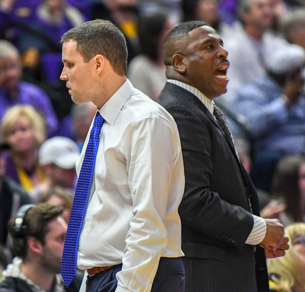 LSU basketball head coach Will Wade (left) and assistant coach Tony Benford (right)