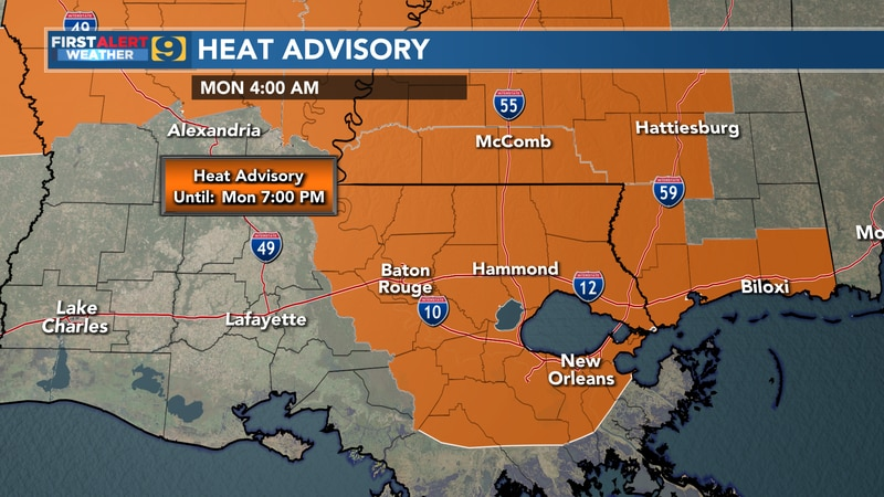 A Heat Advisory has been posted for the majority of the WAFB viewing area from 10 a.m. through...