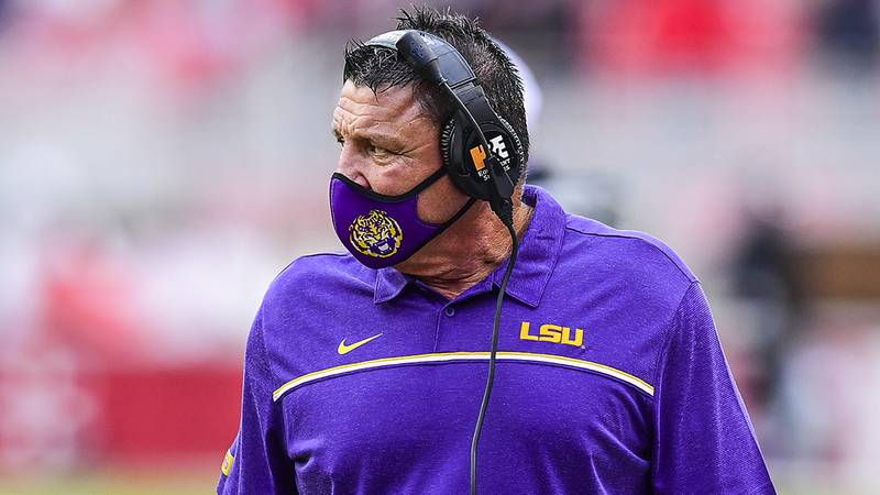 Head coach Ed Orgeron of the LSU Tigers during the second half of a game against the Arkansas...