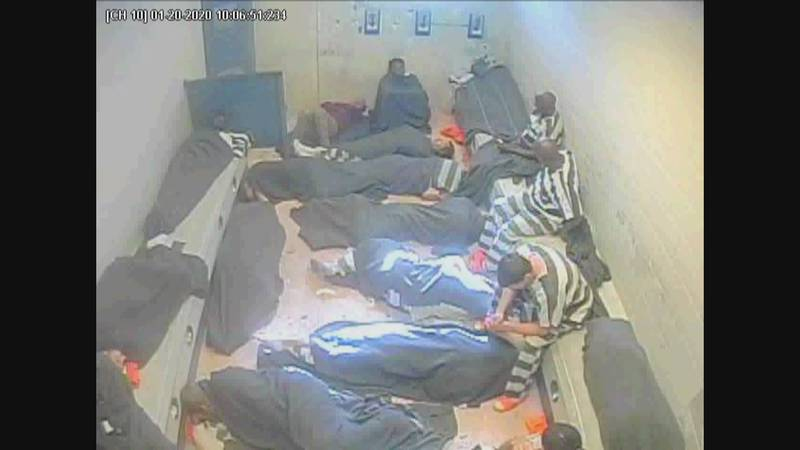 In this image from Jan. 20, 2020 surveillance at the St. Tammany Parish Jail nearly twenty...