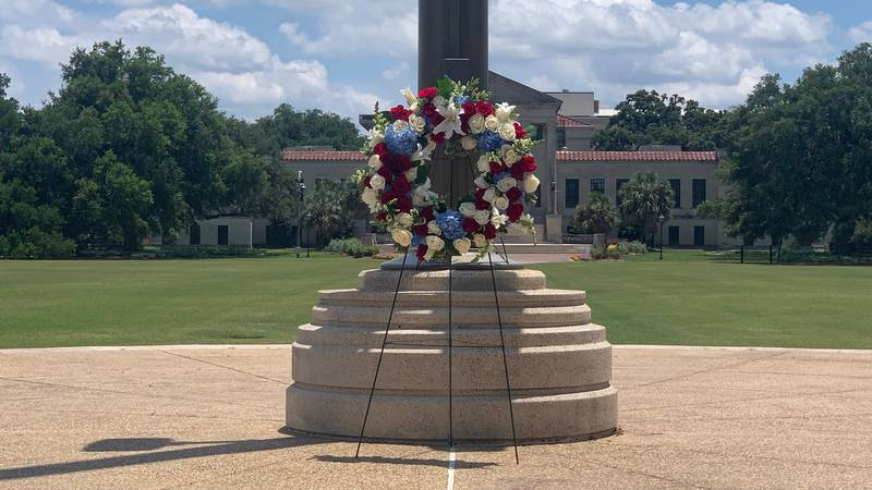 A ceremonial wreath lies at LSU flagpole to honor those who died for this country.