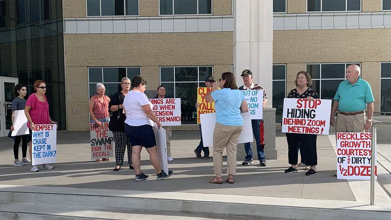 Several people showed up to protest outside the Ascension Parish Courthouse on Monday,...