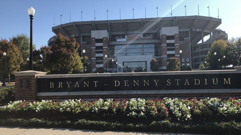 Outside of Bryant Denny Stadium at the University of Alabama