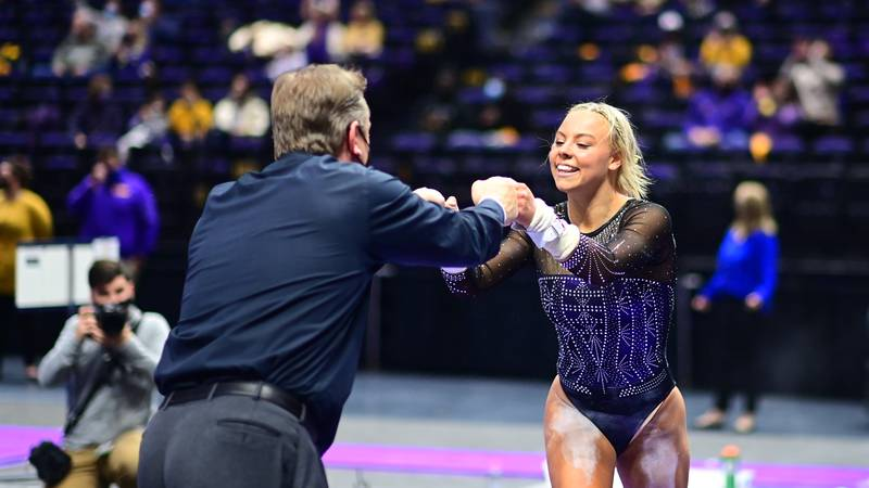 Chase Brock during a match against the Florida Gators at PMAC on 2 12, 2021 in Baton Rouge,...