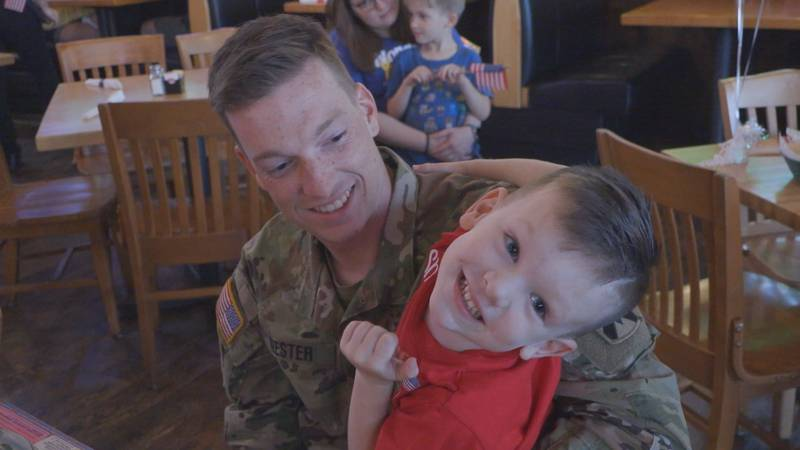 After 570 days serving his country, Sgt. Michael Nester gets to hug his son, Jonah.