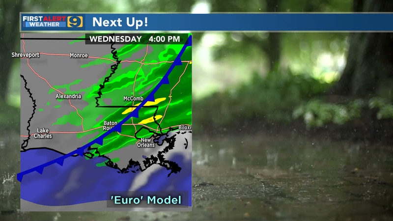 A cold front is expected to move through the area next Wednesday.