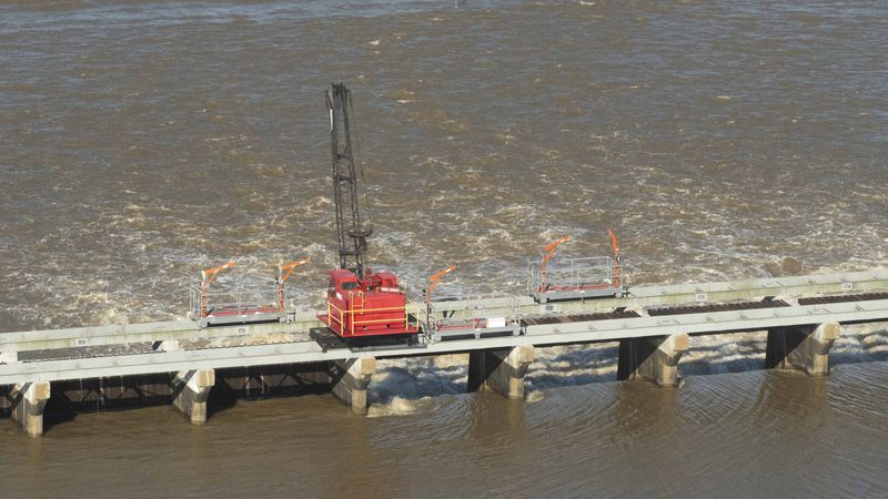 A crane sits atop the Bonnet Carre Spillway in St. Charles Parish upriver from New Orleans
