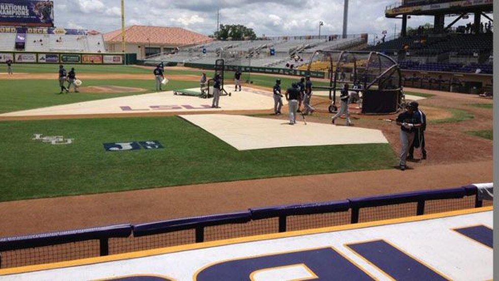 Jackson State Tigers on the field at Alex Box Stadium