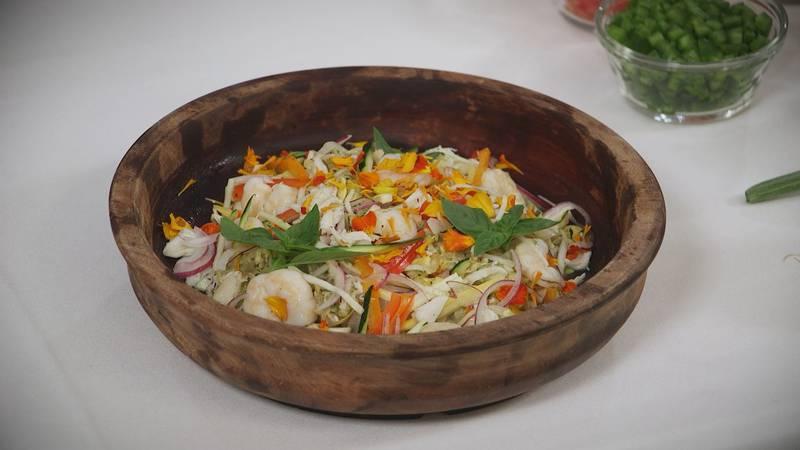 Marinated Seafood, Zucchini and Summer Squash Salad
