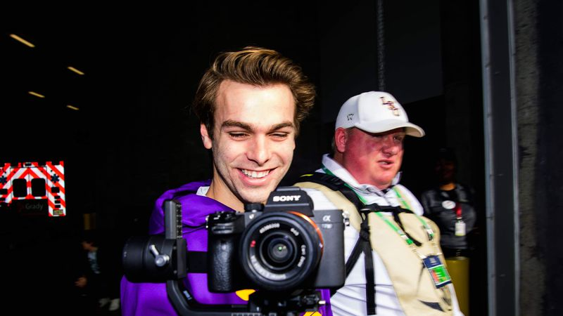 LSU's Will Stout captures video to be featured in their weekly hype videos.