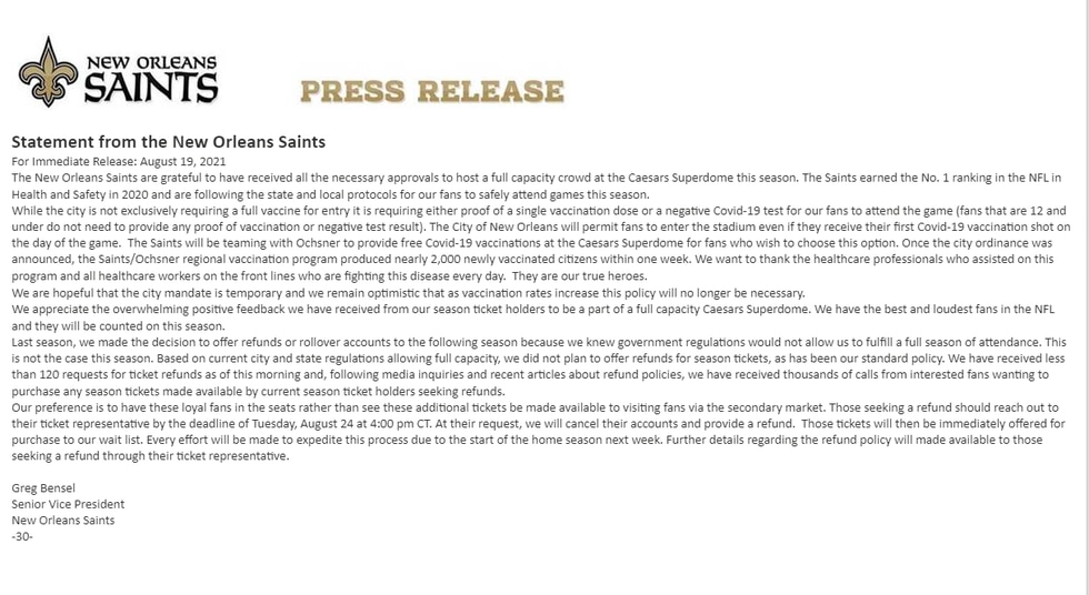 Saints statement regarding New Orleans Vaccine Mandate