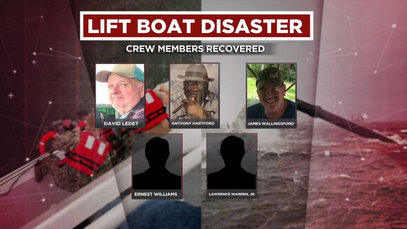 Captain David Ledet, Anthony Hartford, James Wallingsford, Ernest Williams, and Lawrence Warren...