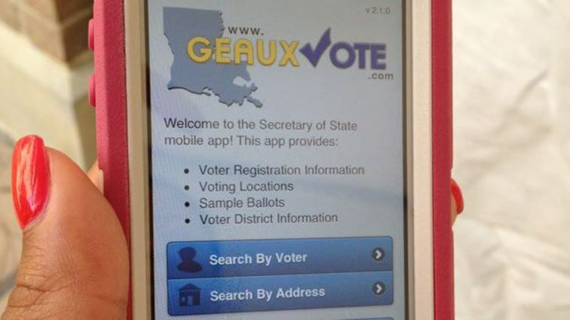 Louisiana's GeauxVote mobile smartphone app provides voter registration information as well as...