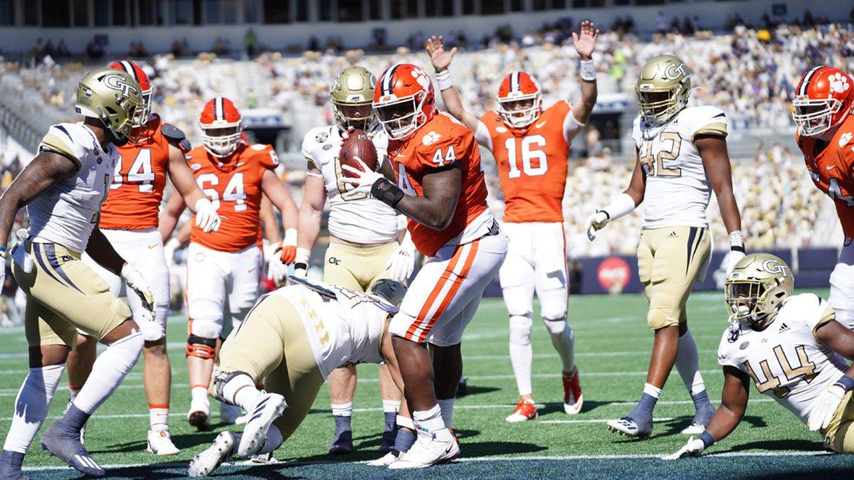 Clemson defensive lineman Nyles Pinckney celebrates a touchdown catch against Georgia Tech on...