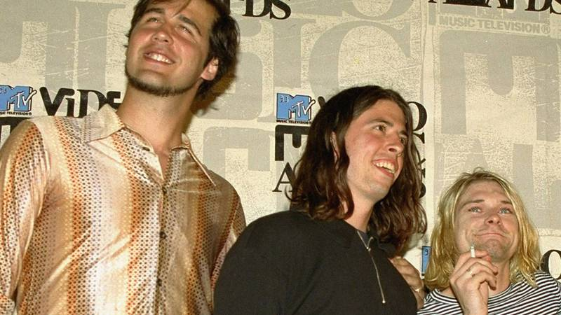 FILE - Nirvana band members Krist Novoselic, from left, Dave Grohl, and Kurt Cobain.