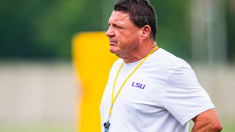 LSU head coach Ed Orgeron looks on during fall camp practice on Friday, August 21.