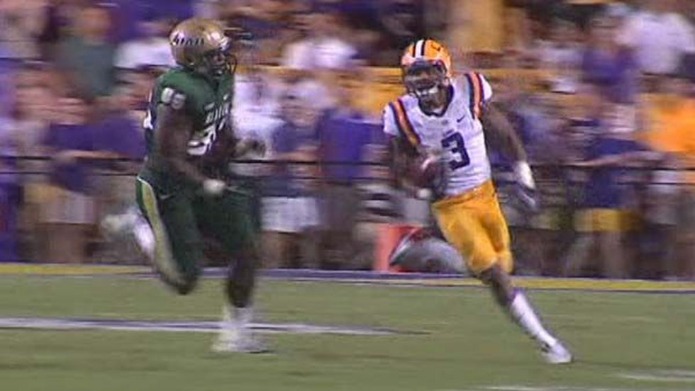 Odell Beckham Jr. returns a missed field goal attempt 100 yards for a touchdown.