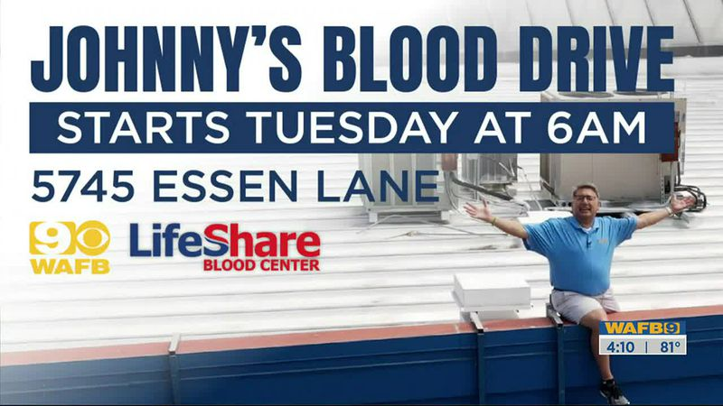 Here's how you can donate to Johnny Ahysen's Blood Drive Tuesday