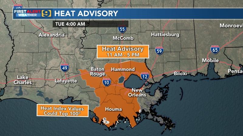 Heat advisory for Tuesday, Sept. 7.