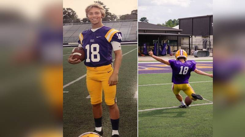 "Cameron Beall, a junior kicker at Denham Springs High School, and his campaign to ""kick""..."