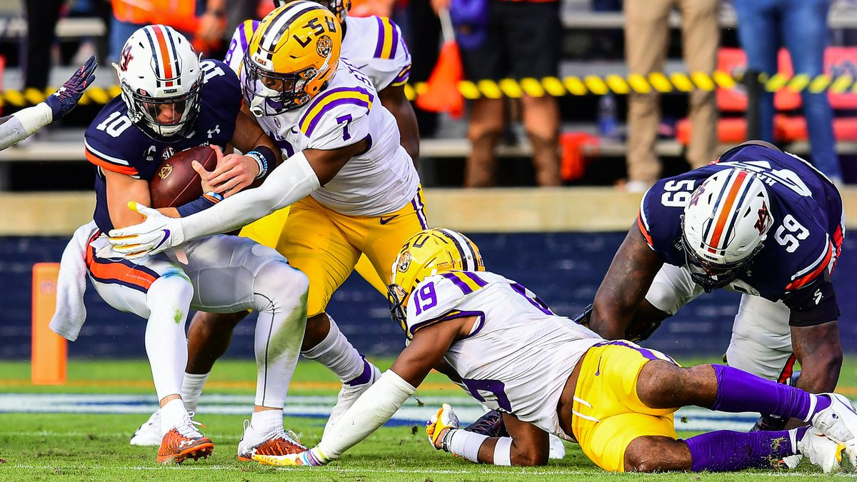 JaCoby Stevens of the LSU Tigers during the second half of a game against the Auburn Tigers at...