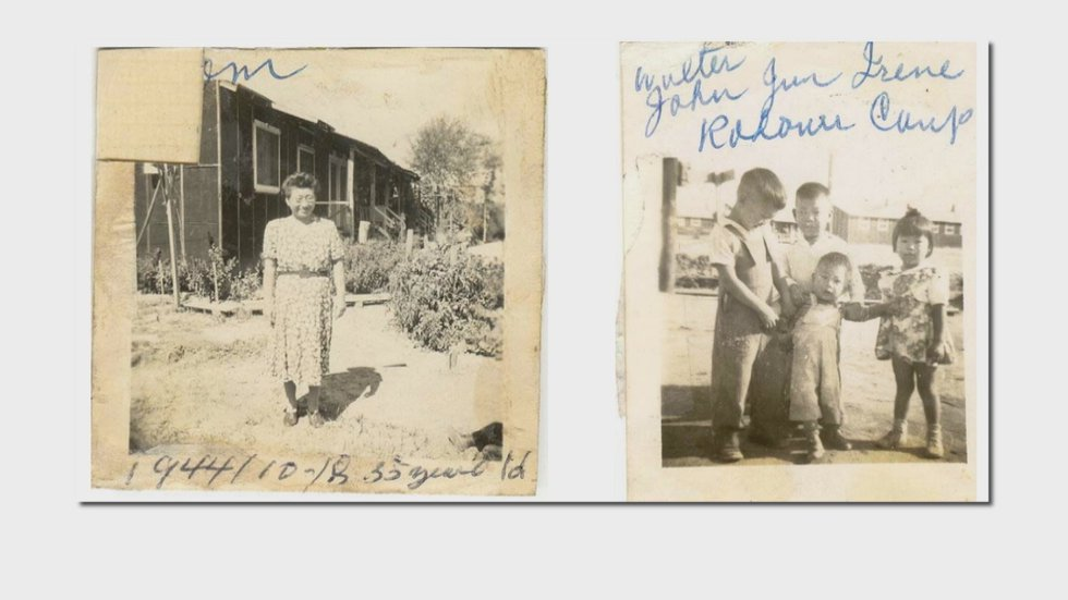 Members of the Imahara family while living in a Japanese internment camp in Arkansas
