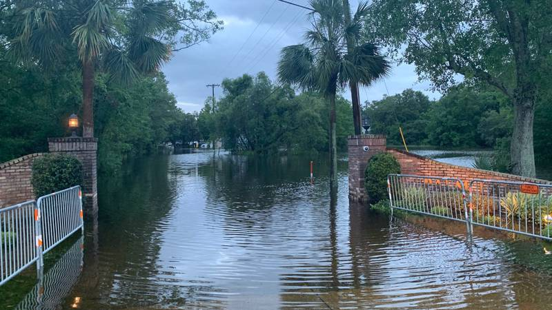 Neighborhoods in slidell like Palm Lake are experiencing flooding from storm surge and heavy...