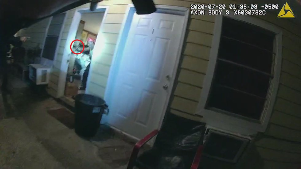 The image above is from a body camera video that shows the suspect holding a weapon. The weapon...