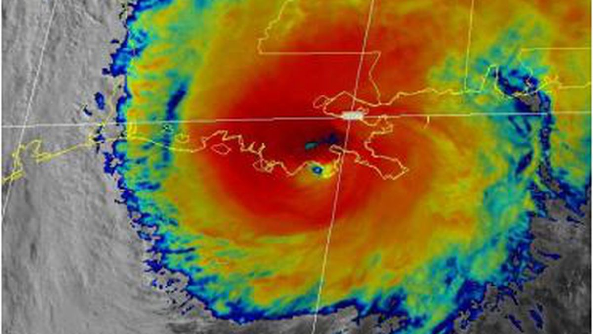 """GOES-EAST visible/infrared """"sandwich"""" image of Zeta near landfall on Oct. 28."""