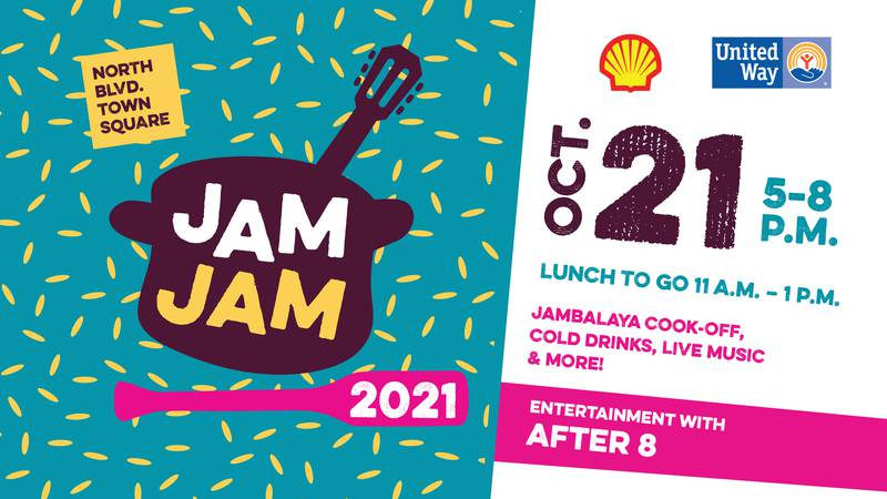 The 34th Annual Jambalaya Jam will be at North Blvd. Town Square and Lafayette Street in...