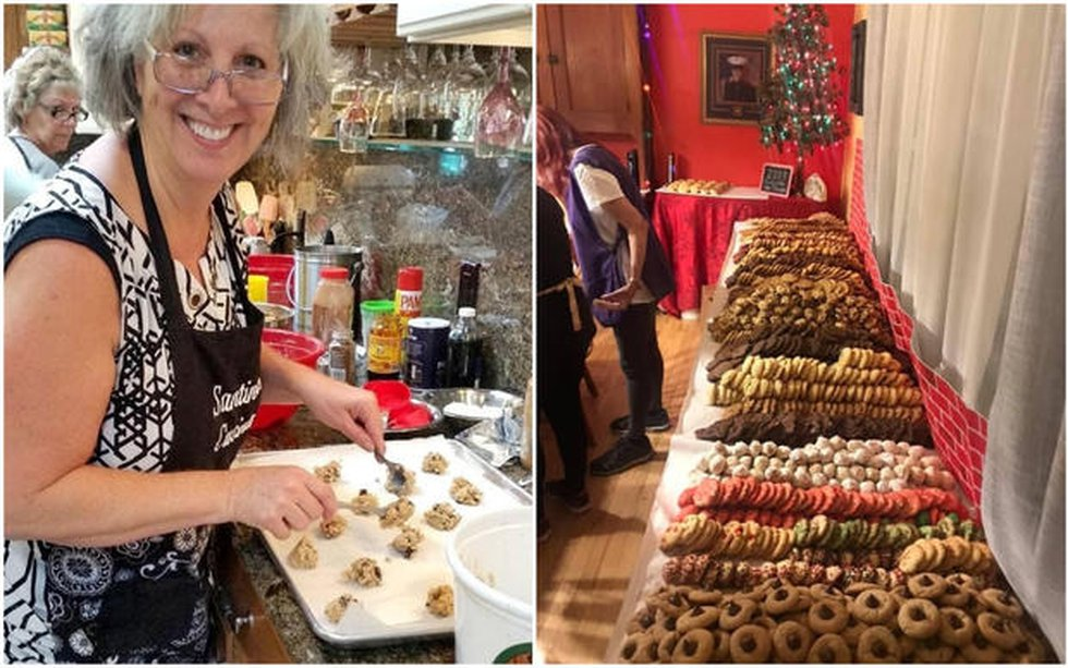 Group gets together to bake cookies for troops overseas.