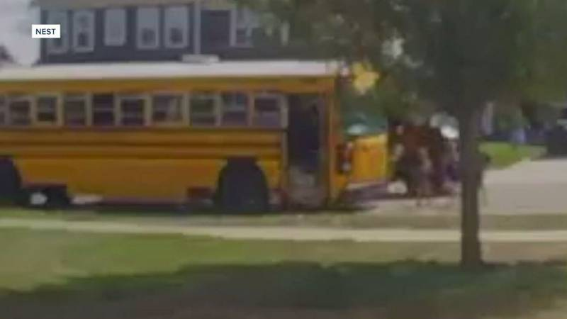 A UPS driver allegedly illegally passed an Indiana school bus, coming within inches of hitting...