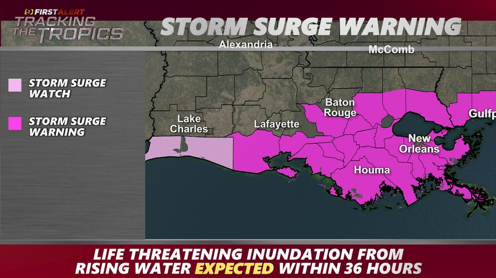 Storm Surge Warning as of Friday, Aug. 27, 2021.