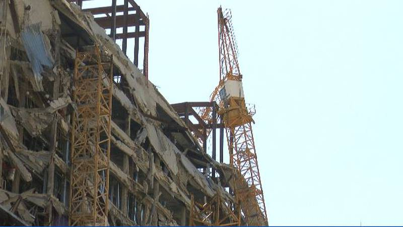 The wreckage of the partially collapsed Hard Rock hotel is supposed  to be imploded in mid-March.
