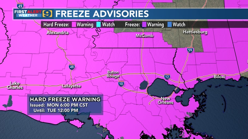 Hard Freeze Warning in effect from 6 p.m. Monday, Feb. 15 until 12 p.m. Tuesday, Feb. 16, 2021.