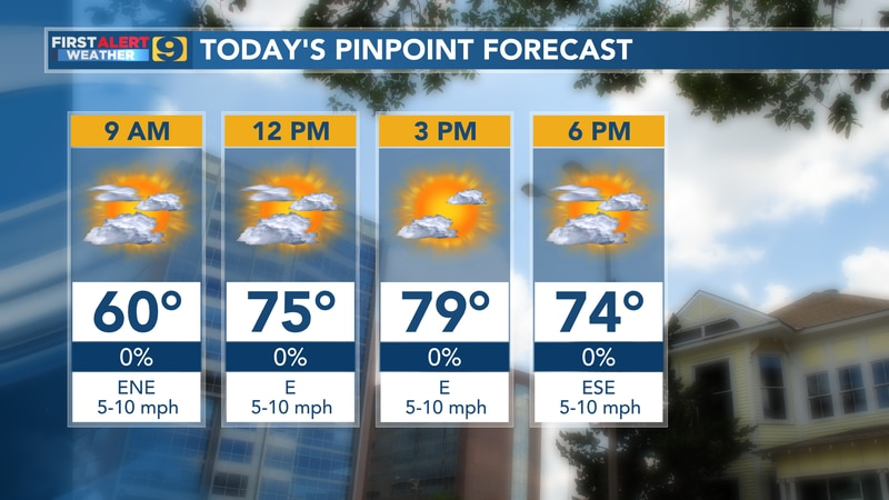 Pinpoint forecast for Tuesday, Oct. 19.