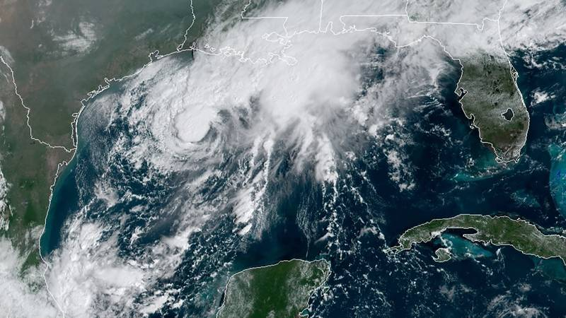 This GOES-16 GeoColor satellite image taken Saturday, Sept. 19, 2020, and provided by NOAA,...